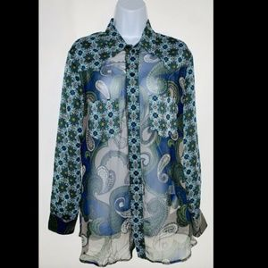 Reformation LS Button Down Blouse Sheer Print